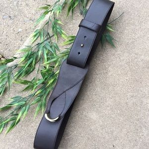 Talbots Leather Belt With Gold Accent